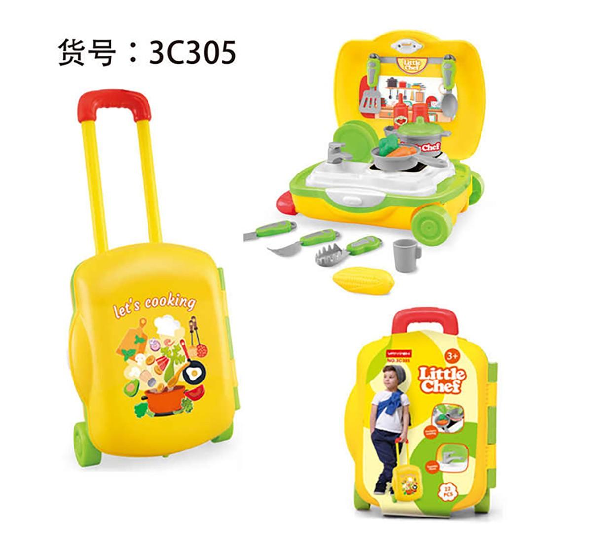 Comdaq 20Pcs Little Chef Trolley Set for Girls age 3Y+ (Yellow)