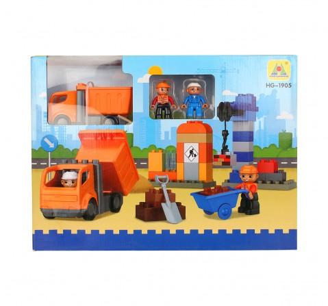 Comdaq 44 Pcs Toddler Construction Blocks for Kids age 12M+