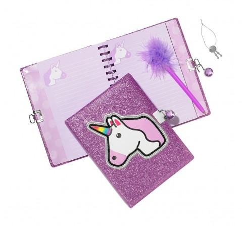 3C4G Unicorn Glitter Locking Journal With Feather Pen