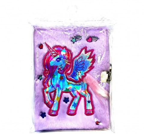 Mirada Whimsical Unicorn Plush Notebook With Lock-Lilac Study & Desk Accessories for Kids age 3Y+