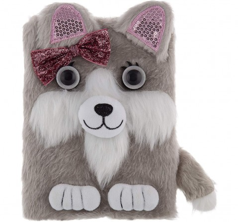 Mirada Puppy With Bow Plush Notebook - Study & Desk Accessories for Kids age 3Y+ (Grey)