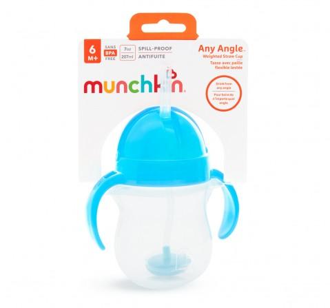 Munchkin 7oz Any Angle WeightedStrawTrainer, Unisex, 6M+ (Blue)