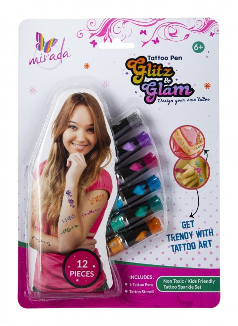 Mirada Sparkle And Shine Tattoo Pen - Pack Of 3 DIY Art & Craft Kits for Girls age 6Y+