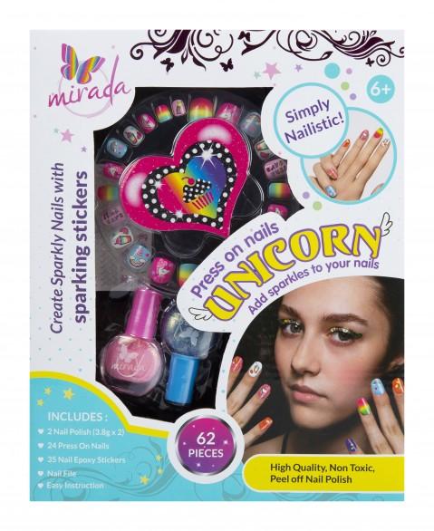 Mirada Press on Nails  Unicorn DIY Art & Craft Kits for Girls age 6Y+