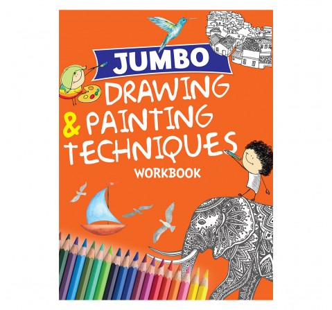 Drawing & Painting : Jumbo Drawing & Painting Techniques Workbook, 128 Pages Book, Paperback