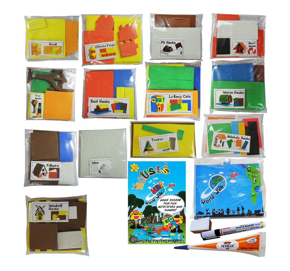 Imagimake World Wide Houses On The Map DIY Art & Craft Kit for Kids age 5Y+