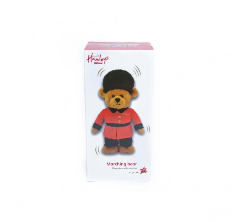 Hamleys Movers And Shakers Marching Bear, Red Interactive Soft Toys for Kids age 3Y+ - 18 Cm (Red)