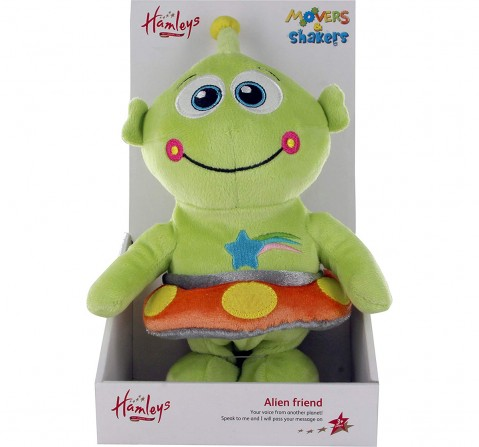 Hamleys Movers And Shakers Alan The Alien, Green Interactive Soft Toys for Kids age 3Y+ - 9 Cm (Green)
