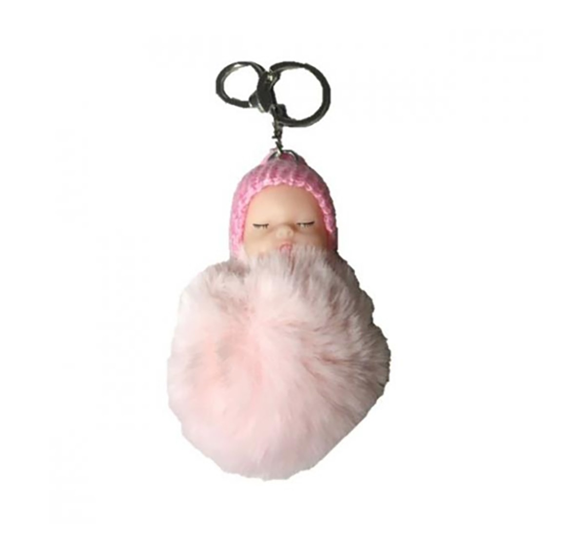 Luvley Pastel Pink Baby Pompom Keyring Toileteries and Makeup for Girls age 3Y+