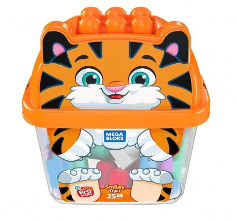 Mega Blocks Animal Buckets Tiger Toddler Blocks for Kids age 12M+