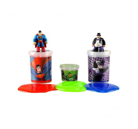DC Super Friends Superman & Penguin Slime Mix with 2 Liquid & 1 Jelly Slime