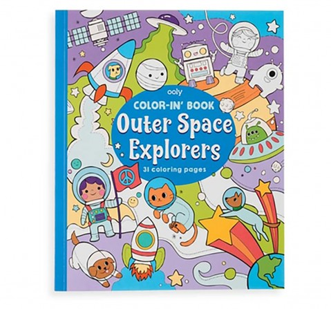 Ooly 31 Pages Outer Space Explorers Colouring Book- Multicolour Books for Kids age 3Y+