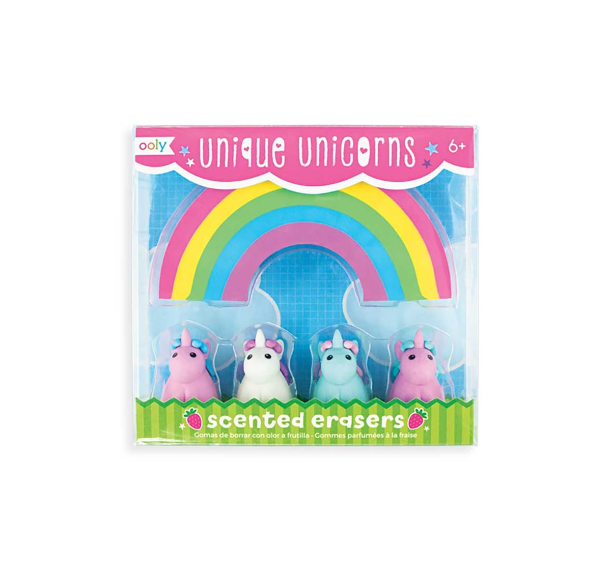 Ooly Unique Unicorns Scented Erasers - 4Pcs School Stationery for Kids age 6Y+