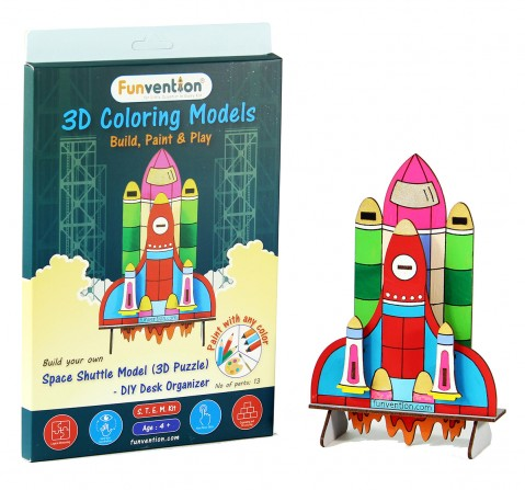 Funvention 3D Coloring Model - Space Shuttle Stem for Kids Age 4Y+