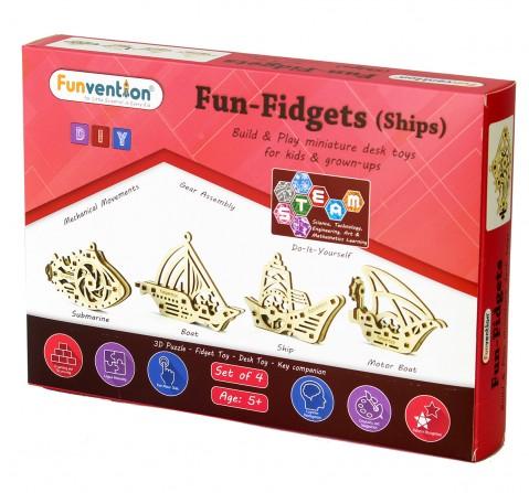 Funvention Fun Fidgets - Ships - Set Of 4 Models Stem for Kids Age 5Y+