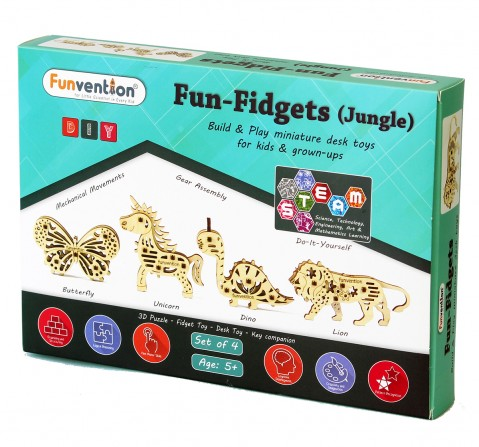 Funvention Fun Fidgets - Jungle - Set Of 4 Models Stem for Kids Age 5Y+