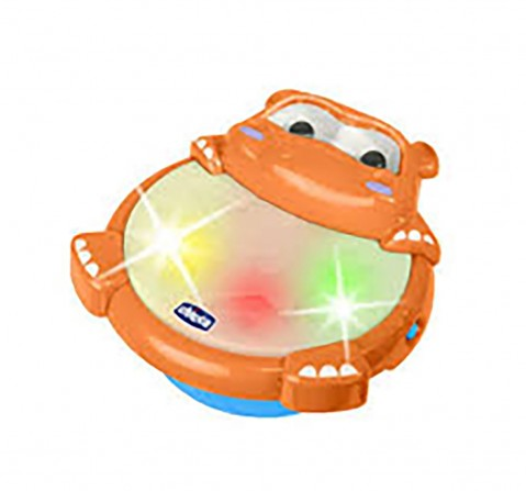 Chicco Hippo Tambourine Drum Musical Toy with Light for Kids age 6M+ (Orange)
