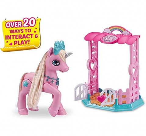 Pets Alive My Magical Unicorn in Stable Battery-Powered Interactive Robotic Toy Playset  By Zuru Novelty for Girls age 4Y+ (Pink)