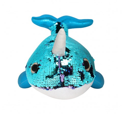 Delta Sequin Narwahl Blue, 35cm Quirky Soft Toys for Kids age 3Y+ - 35 Cm