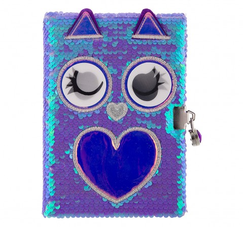 Mirada  Owl Flip Sequin Notebook/Diary Study & Desk Accessories for Girls age 3Y+ (Purple)