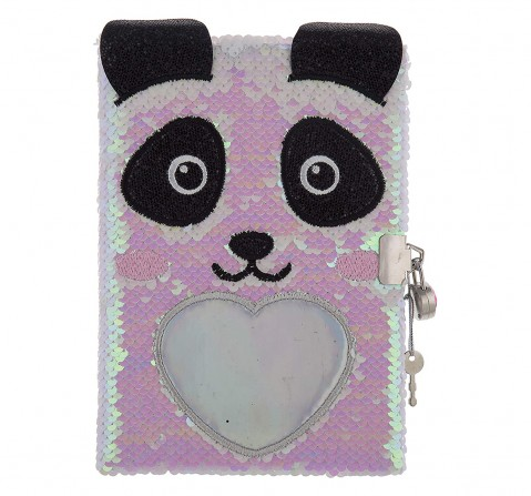 Mirada Panda Flip Sequin Notebook/Diary Study & Desk Accessories for Girls age 3Y+ (White)
