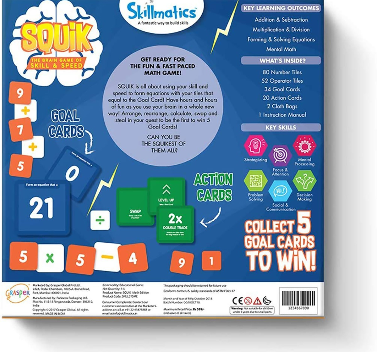 Skillmatics Squik Math – A Game Of Mental Math From Skillmatics   Skill Based Learning And Practice For Addition, Multiplication, Division, Subtraction Games for Kids age 6Y+