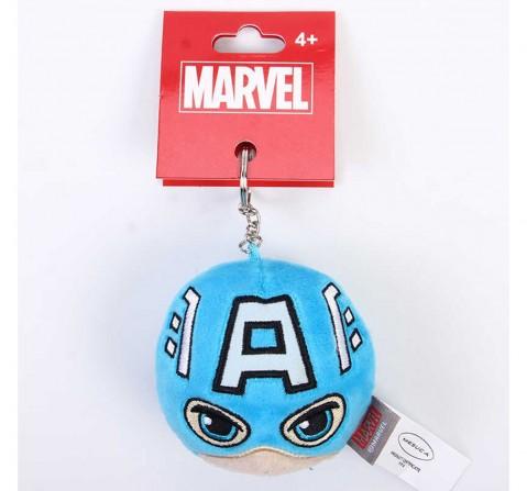 Marvel Captain America Plush Round Keychain, Blue, 12Y+