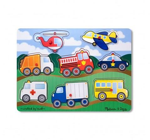 "Melissa & Doug Vehicles Wooden Peg Puzzle (Colorful Artwork, Extra-Thick Construction, 8 Pieces, 15.5"" H X 11.2"" W X 1.6"" L) Toys for Kids age 3Y+"