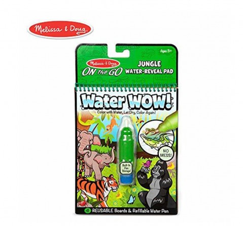 Melissa And Doug On The Go Water Wow! Jungle Activity Pad (Reusable Water-Reveal Coloring Book, Refillable Water Pen) Diy Art & Craft Kits for Kids Age 3Y+