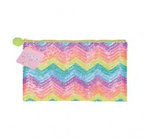 Syloon Sequin Pencil Pouch Zig Zag Rainbow Pencil Pouches & Boxes for Kids age 6Y+