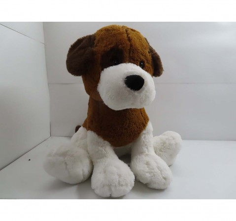 Fuzzbuzz Sitting Dog - White & Brown - 77Cm Quirky Soft Toys for Kids Age 0M+ - 78 Cm