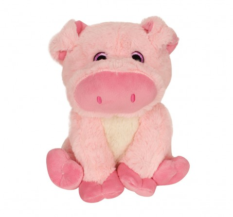 Fuzzbuzz Sitting Pig - 25Cm Quirky Soft Toys for Kids age 0M+ - 25 Cm (Pink)