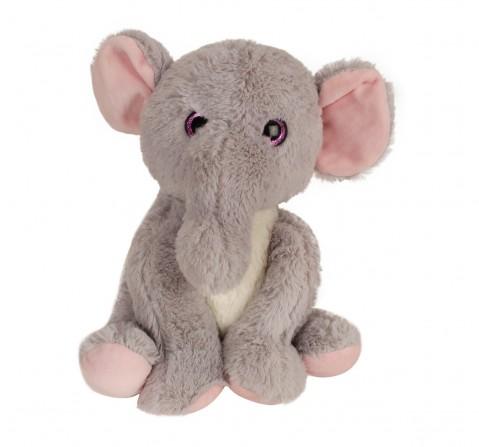 Fuzzbuzz Sitting Elephant- 25Cm Quirky Soft Toys for Kids age 0M+ - 25 Cm (Grey)