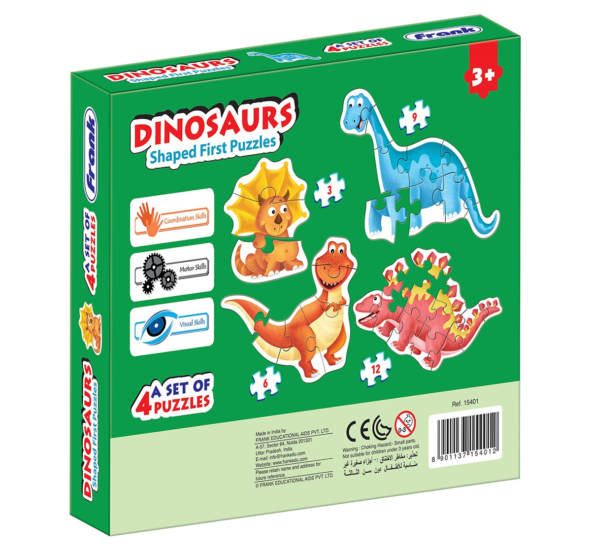 Frank Dinosaurs Shaped First Puzzle for Kids age 3Y+