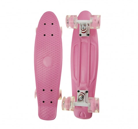 Zoozi Penny Board with LED Flashing Wheels, Skates and Skateboards for Kids age 3Y+ (Rose Pink)