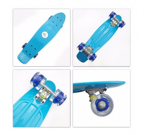 Zoozi Skate Board With LED Flashing Wheels, Skates and Skateboards for Kids age 3Y+ (Light Blue)