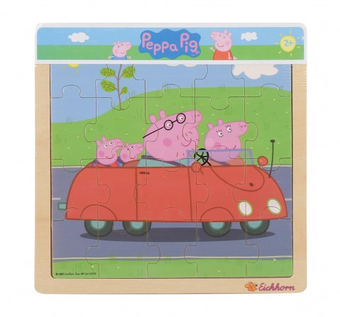 Peppa Pig, Lift Out Puzzle, 3-Asstorted Wooden Toys for Kids age 2Y+