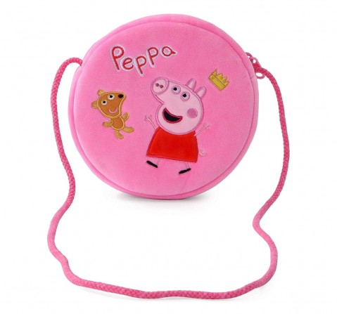 Peppa Pig with Bear Round Sling Bag Plush Accessory for Girls age 3Y+ - 16 Cm (Pink)