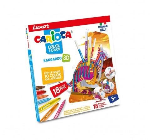 Luxor Carioca Kangaroo-3D Pop-Up Model+ 18 Color School Stationery for Kids age 5Y+