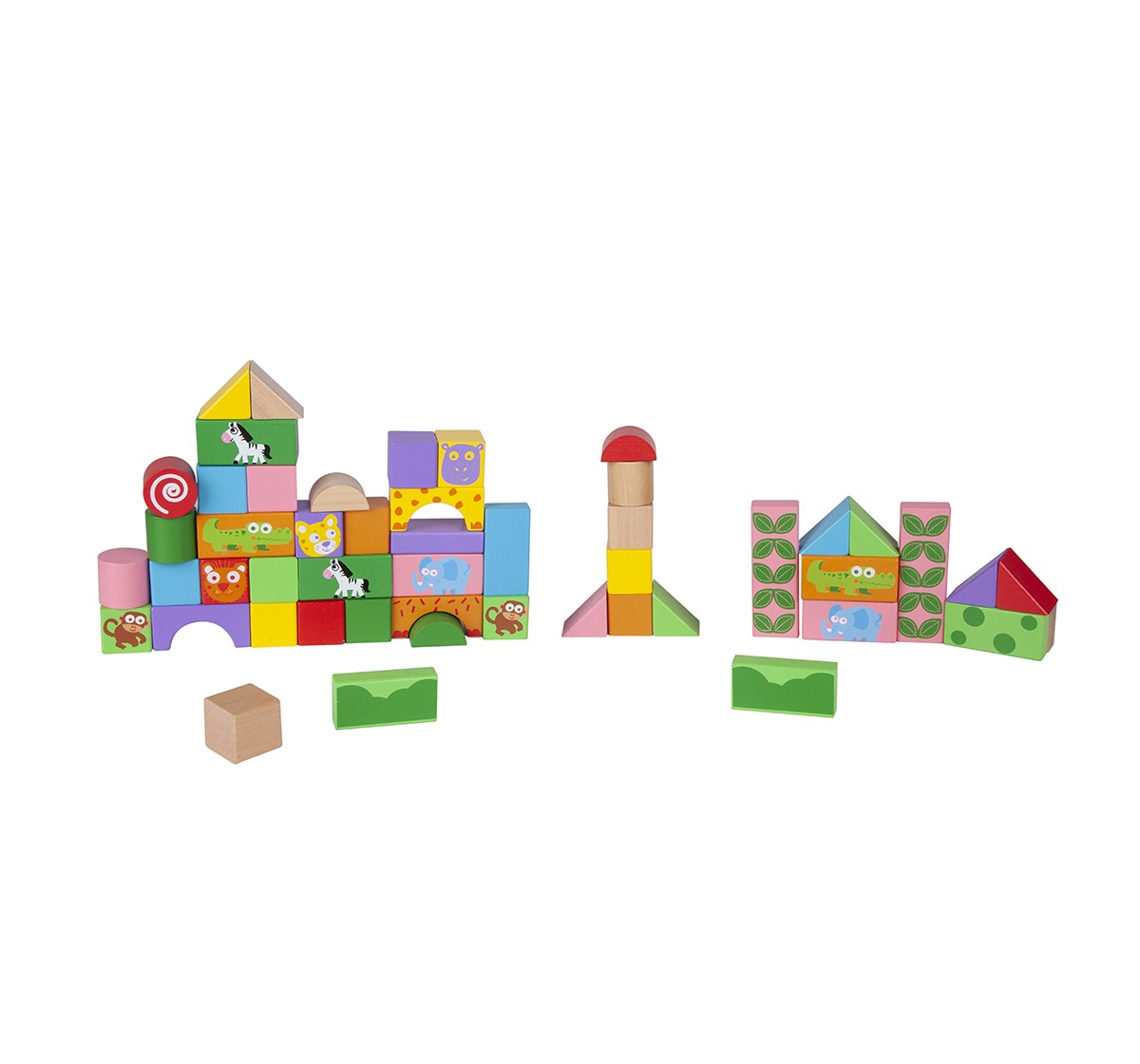 Shooting Star 50 PCS Wooden Blocks for Kids age 3Y+