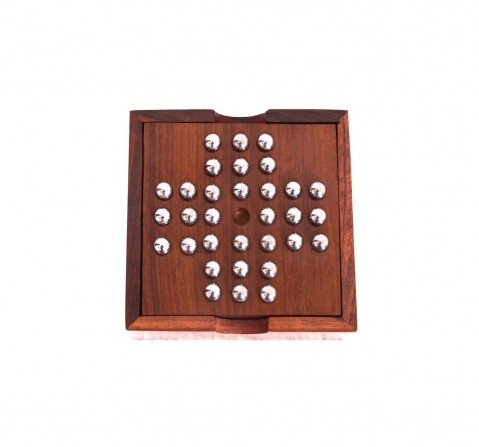 Desi Toys 2 In 1 Solitaire & Tic Tac Toe Game In Wood, Phuli Gola Aur Buddhijaal for Kids age 5Y+ (Brown)