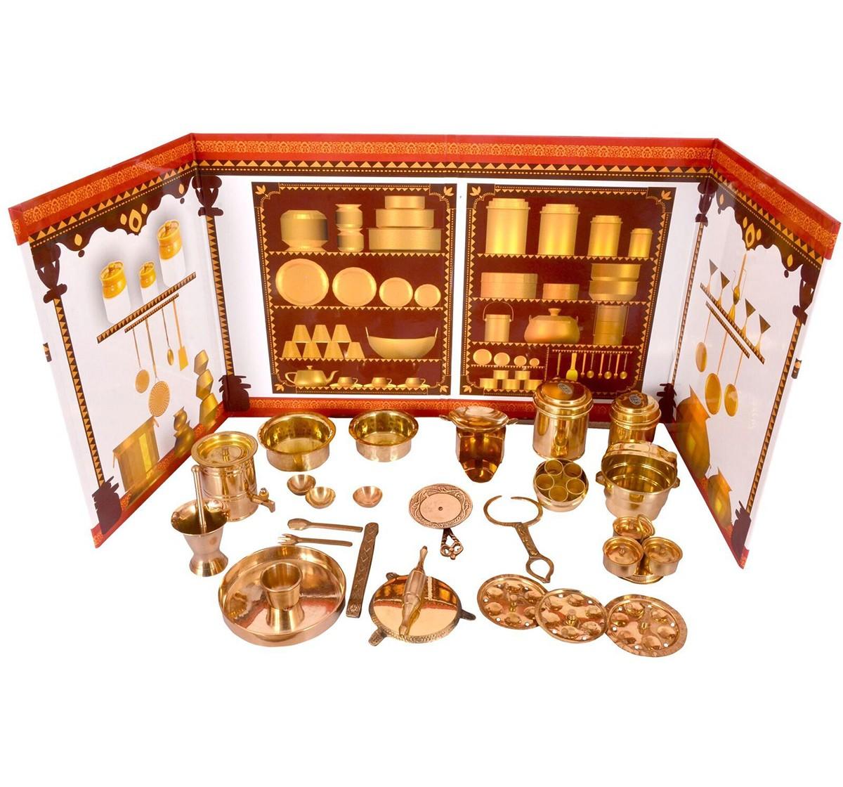 Desi Toys Premium Brass Roleplay Kitchen Set for Kids age 5Y+ (Golden)
