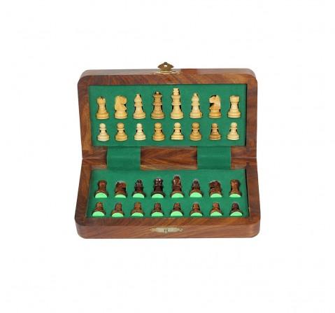 "Desi Toys Magnetic Folding Chess Set 7"", Chumbak Shatranj Board Game for Kids age 5Y+ (Brown)"