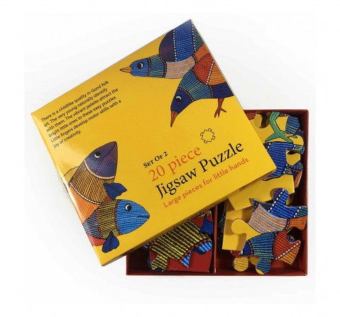 Frogg Bird & Fish Puzzle 20Pc Puzzles for Kids age 5Y+ (Yellow)
