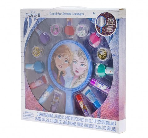Melissa & Doug Disney Frozen 2 - 16 Piece Lip Balm Cosmetic Gift Set With Light-Up Mirror Toileteries And Makeup for Kids Age 3Y+