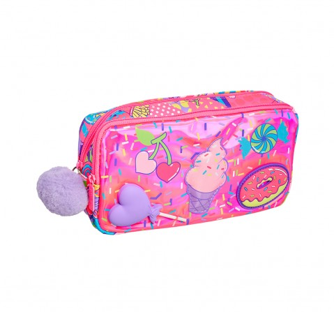 Smiggle Far Away Character Pencil Case - Ice-cream Print Bags for Kids age 3Y+ (Pink)