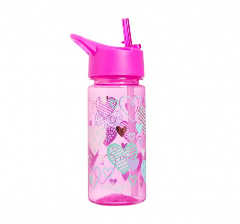 Smiggle Giggle Bottle with Flip Top Spout - Heart Print Bags for Kids age 3Y+ (Pink)
