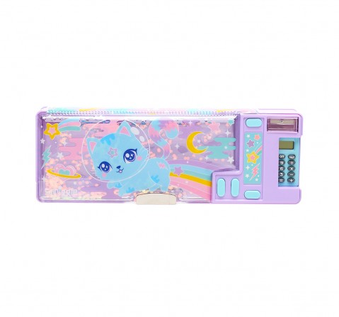 Smiggle Far Away Pop Out Pencil Case - Cat Print Bags for Kids age 6Y+ (Lilac)
