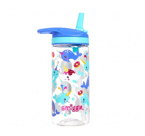 Smiggle Whirl Junior Bottle with Flip Top Spout - Narwhal print Bags for Kids age 3Y+ (Purple)