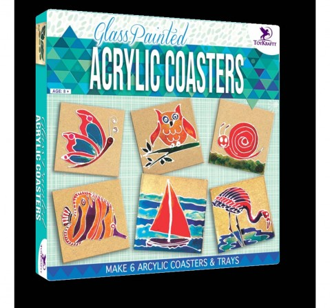 Toy Kraft Glass Painted - Acrylic Coasters, Multicolor, 8Y+